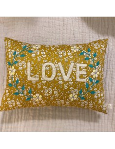 """CSAO - Coussin """"Love"""" moutarde"""